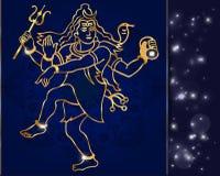 Signore Shiva della divinità indù su un fondo scintillante illustrazione di stock