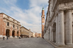 Signori's Plaza. In the center of Vicenza with palladian's Basilica on the right Stock Image