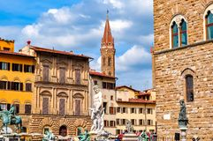 Signoria square in center of Florence, Italy stock photos
