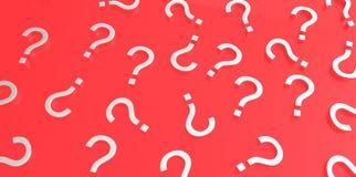 Signos de interrogación blancos 3D en fondo rojo stock de ilustración