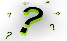 Signos de interrogación (negro/verde) Imagenes de archivo