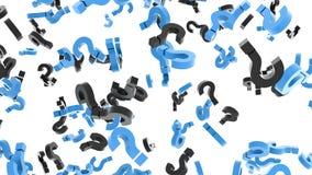 Signos de interrogación negros y azules