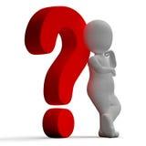 Signos de interrogación y hombre que muestra la confusión o inseguro Fotografía de archivo libre de regalías