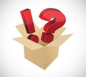 Signos de la exclamación y de interrogación dentro de una caja. Imagen de archivo