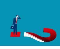 Signos del hombre de negocios y de interrogación Ejemplo del negocio del concepto Foto de archivo