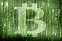 Signos del símbolo y de interrogación de Bitcoin Fotos de archivo