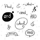Signos '&' indicados con letras de la mano stock de ilustración