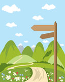 Signpost. A hand drawn illustration of a signpost in beautiful countryside with snow capped mountains and blue sky Royalty Free Stock Photo