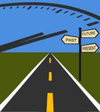 Signpost. Signifying past present and future concepts Stock Illustration