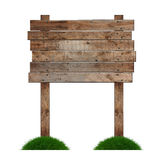 Signpost. Old wooden billboard on the grass isolated on white background Royalty Free Stock Images