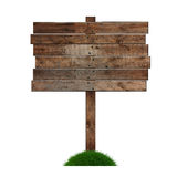 Signpost. Old wooden billboard on the grass isolated on white background Royalty Free Stock Photos