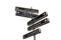 Signpost. Famous tourist landmark on signpost in Paris, Europe royalty free stock image