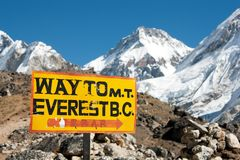 Signpost. Way to mount everest b.c stock photos