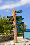 Signpost. Dhowing directions of various countries royalty free stock photo