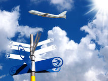 Signpost with airplane on blue sky background. Stock Images
