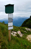 Signpost in Alps Stock Image