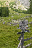 Signpost in the alps Stock Photography