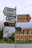 Signpost with arrows pointing to different destinations near Doon,Ireland,Fall,2014 Stock Image