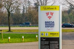Signpost of aviation seppe breda, Airport, Bosschenhoofd, the netherlands, March 30, 2019. The Signpost of aviation seppe breda, Airport, Bosschenhoofd, the stock photos