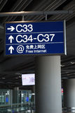 Signpost  in Beijing Capital International Airport Royalty Free Stock Images