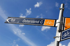 Signpost for bikers Royalty Free Stock Photos