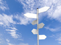 Signpost. Blank signpost pointing in different directions in front of blue, cloudy sky royalty free stock photos