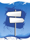 Signpost on blue background. With ornament Royalty Free Stock Photo