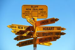 Signpost at Bluff, New Zealand Royalty Free Stock Photography