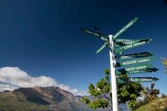 Signpost at Bobs Peak. Otago, South island, New Zealand stock photo