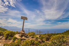 Signpost for Bocca Di Violu on Cap Corse in Corsica Stock Photos