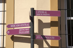 Signpost in Cadiz; Spain Stock Photography