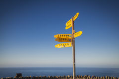 Signpost at Cape Reinga Stock Photo