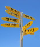 Signpost at Cape Reinga, New Zealand North Island Stock Images