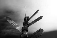 Signpost in Cape Town, South Africa. Black and white shot of sign post in South Africa Royalty Free Stock Photography