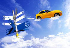 Signpost with car on blue sky background. Signpost with car on the clouds sky background stock image