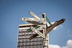 Signpost in center of Nis, Serbia. Signpost with directions in center of Nis, Serbia royalty free stock images