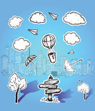 Signpost cloud and cityscape illustrations Royalty Free Stock Image