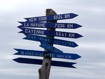 Signpost on cloudy sky background Stock Images