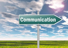 Signpost Communication. Signpost with Communication related wording Stock Photo
