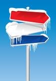 Signpost congelado Foto de Stock Royalty Free