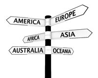 Signpost with continents Stock Photos