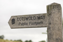 Signpost cotswold way. Wooden signpost with direction to the Cotswold way royalty free stock photos