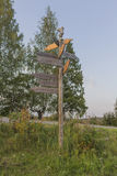 Signpost. In the countryside in western Finland royalty free stock image