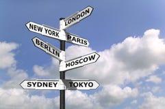 Signpost dei capitali di affari Immagine Stock Libera da Diritti