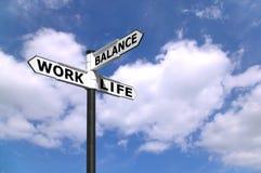 Signpost dell'equilibrio di vita del lavoro fotografia stock