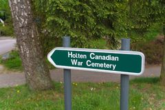 Holten canadian war cemetary signpost Stock Image