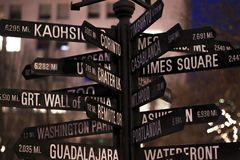 Signpost. Directional marker to world landmarks stock photos