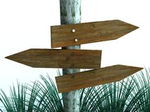 Signpost Directions. An illustration of blank wooden signpost arrows showing directions of destinations stock illustration