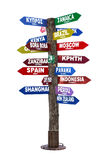 Signpost with Directions to Travel Destinations Royalty Free Stock Photography