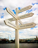 Signpost with distance to many different place for traveler Royalty Free Stock Photo